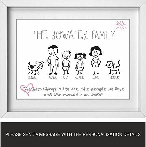 Personalised Family Picture | Stick People | Family Name | NP172 ...