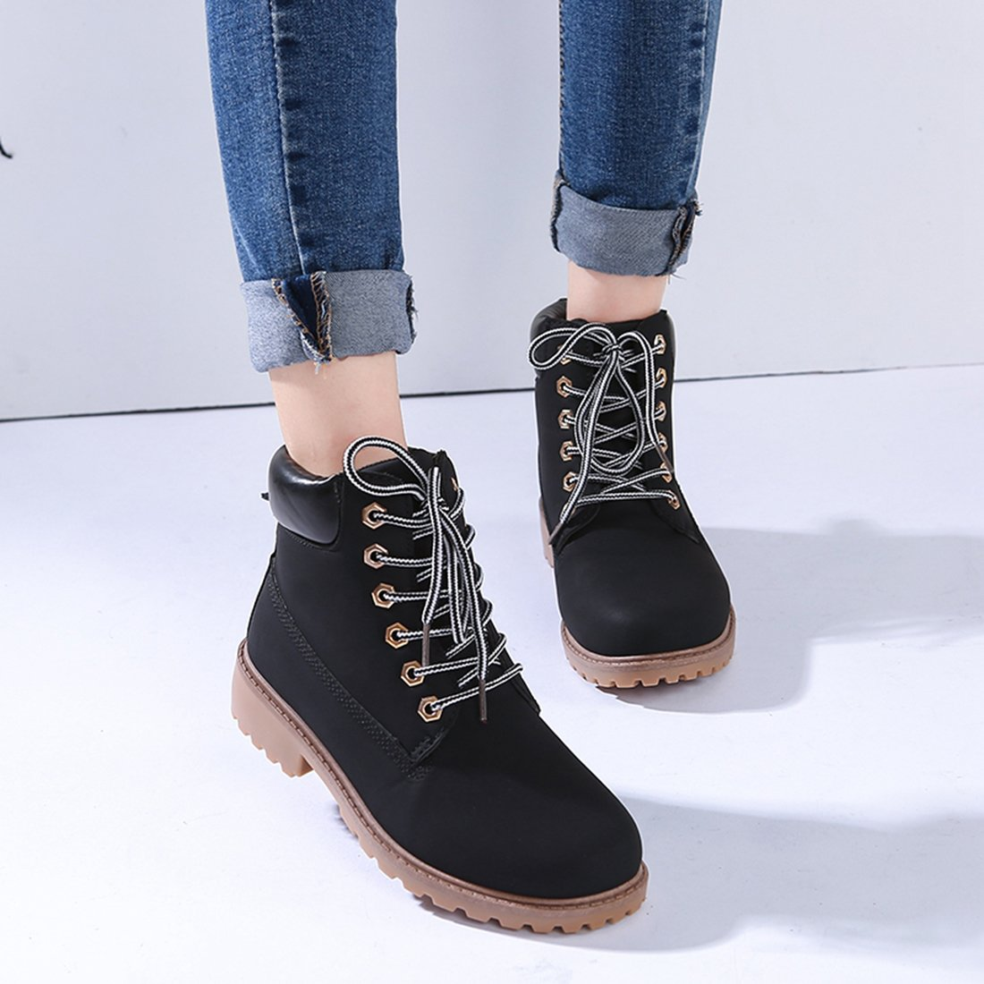 CLIDOU Men Women Lace-up Leather Ankle Martin Boots Winter Warm Work Shoes
