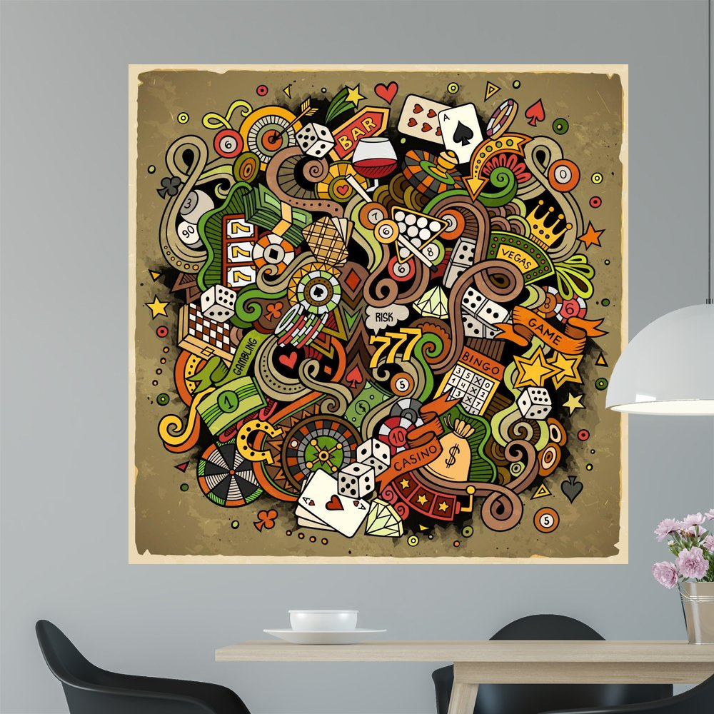 Cartoon Hand-drawn Doodles Casino Wall Mural by Wallmonkeys Peel and Stick Graphic (48 in H x 48 in W) WM368309