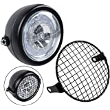 """TASWK Motorcycle Retro 6.5"""" CREE LED Headlight + Metal Mesh Grille Cover Cafe Racer Bobber"""