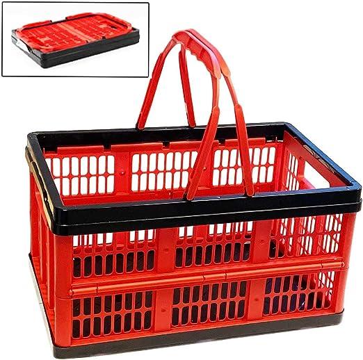 Acan Caja Plegable de plástico con asa 20 x 38.5 x 25.5 cm 16 L Color Rojo: Amazon.es: Hogar
