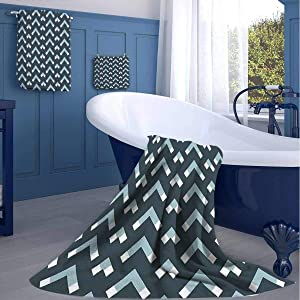 Bath Towel Set 3 Pieces,Chevron Triangle Shapes,Soft and Thick Towel-Machine Washable