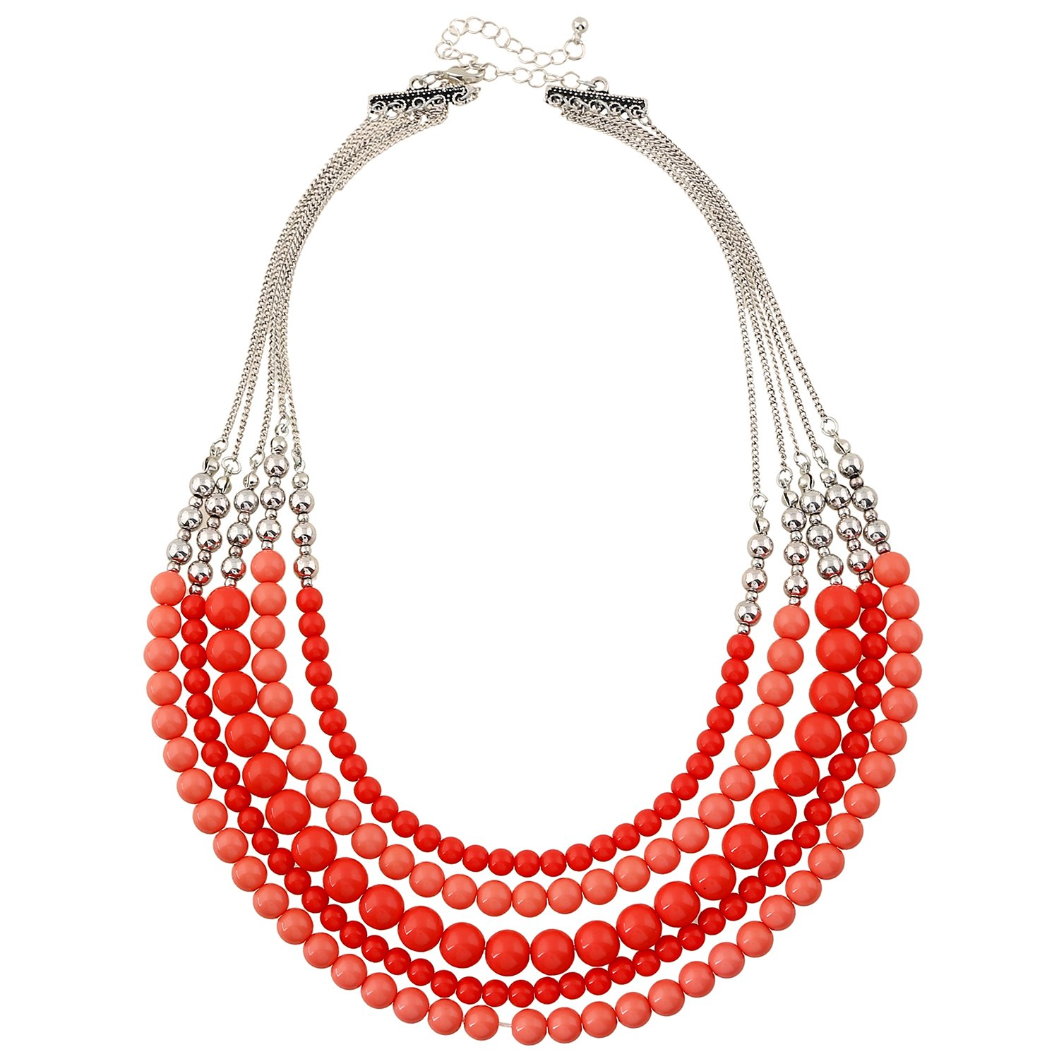 D EXCEED Womens Fashion Red Necklace Multi Strand Necklace for Women Red Statement Bead Necklac 20''