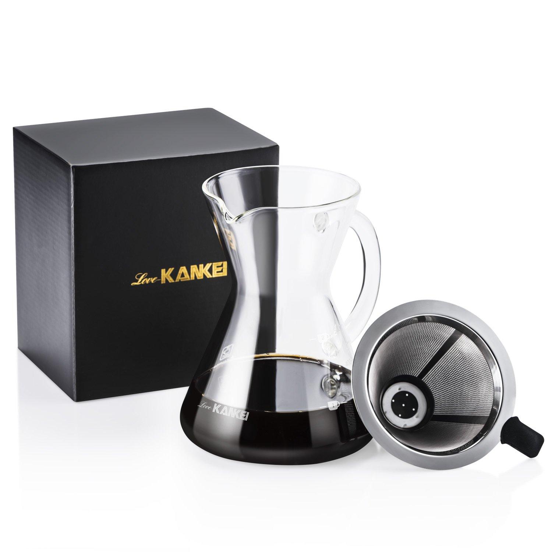 Love-KANKEI Bollitore per caffè in acciaio inox a collo di cigno con Termometro, capacità 1.2 L