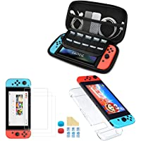 Nadole 5 in 1 Nintendo Switch accessory kit with Nintendo Switch Case, Joy Con Transparent Housing, 3 Screen Protector…