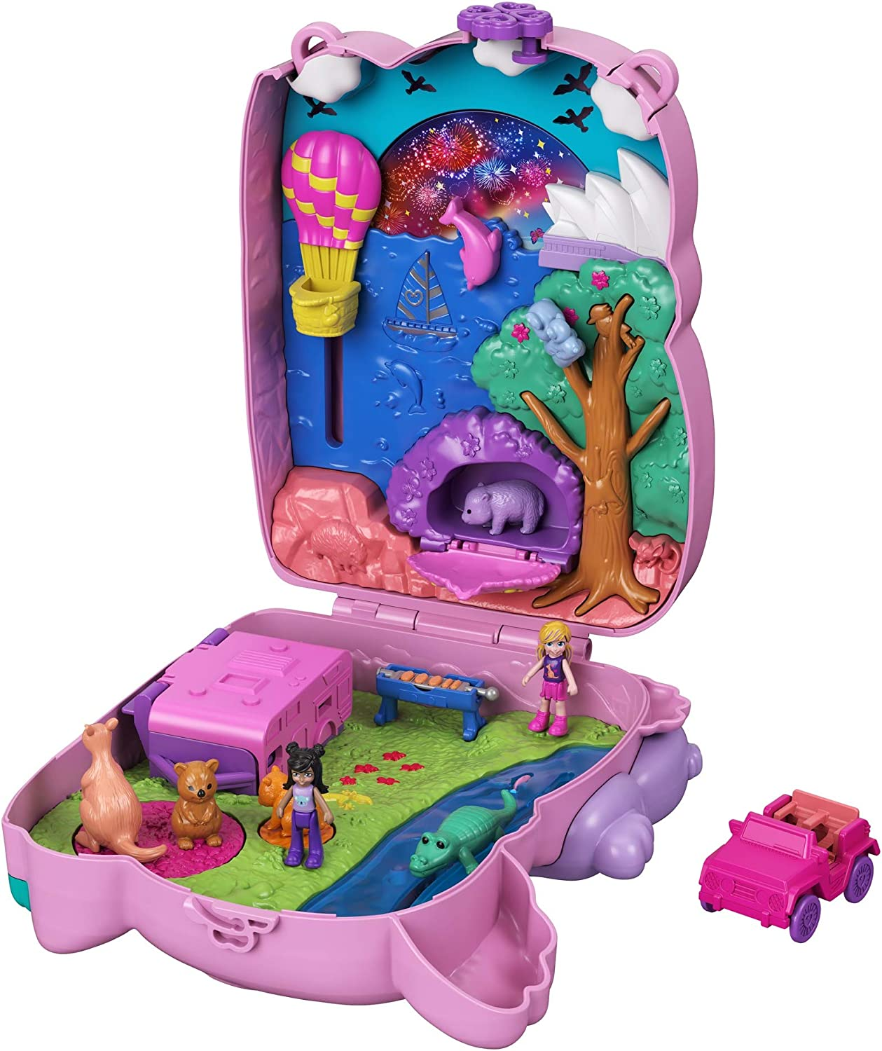 Polly Pocket Koala Adventures Wearable Purse Compact with Micro Polly Doll Friend Doll, 8 Outdoor-Related Features, 5 Animals Removable Vehicle Accessory, Great Gift for Ages 4 Years Old Up