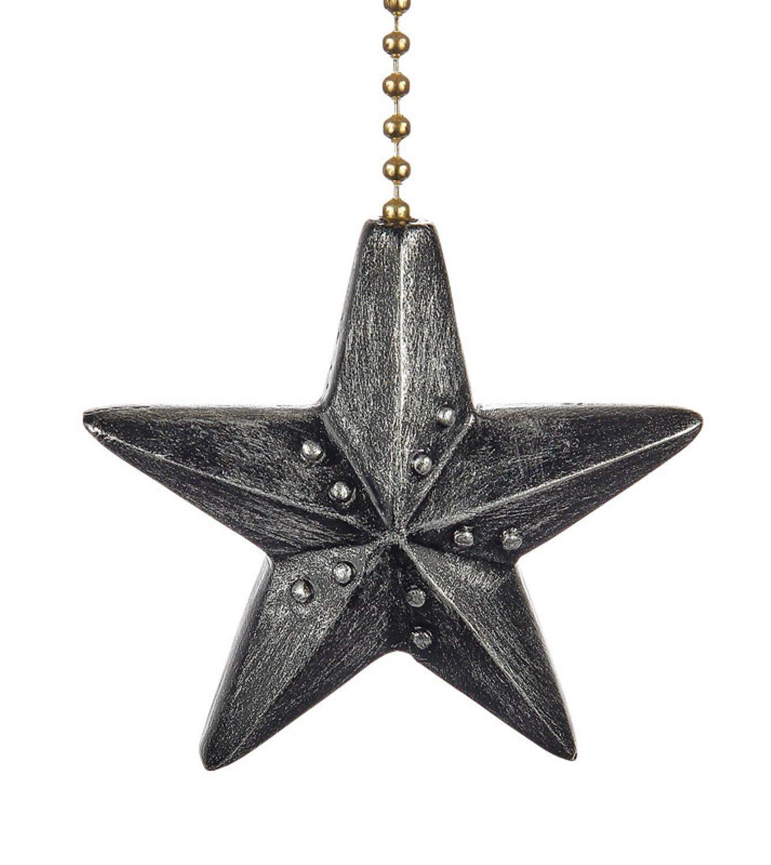Clementine Designs Black Barn Star Decorative Ceiling Fan Light Dimensional Pull