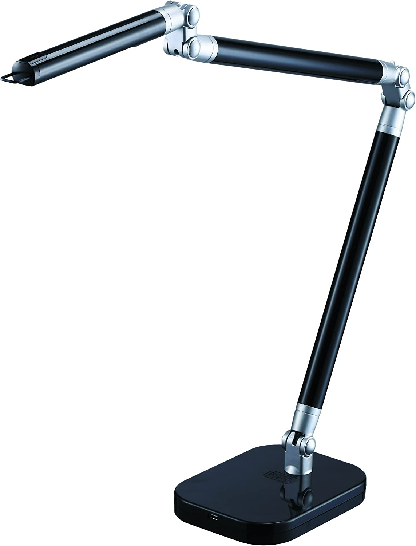 BLACK+DECKER PureOptics Summit Flex Ultra Reach 10W Flicker-Free Natural Daylight LED Desk Lamp with USB Charging Port, 6 Dimming Levels (447 Lumens), Black/Gray (LED10ARC-BLK)