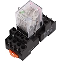 Electromagnetic Power Relay, 14-Pin 5 AMP 6V DC Relay Coil with Socket Base, LED Indicator, 4PDT 4NO 4NC - MY4NJ [Applicable for DIN Rail System]