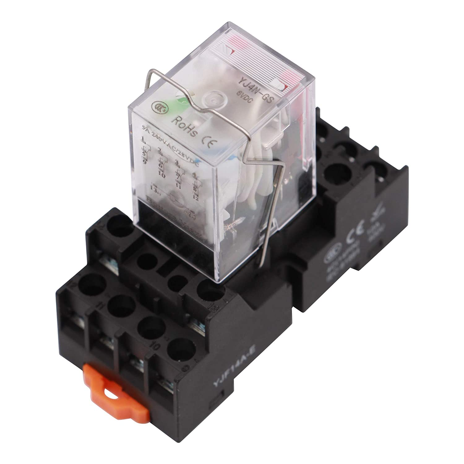 Amazon.com: Electromagnetic Power Relay, 14-Pin 5 AMP 6V DC Relay Coil with  Socket Base, LED Indicator, 4PDT 4NO 4NC - MY4NJ [Applicable for DIN Rail  System]: Industrial & ScientificAmazon.com
