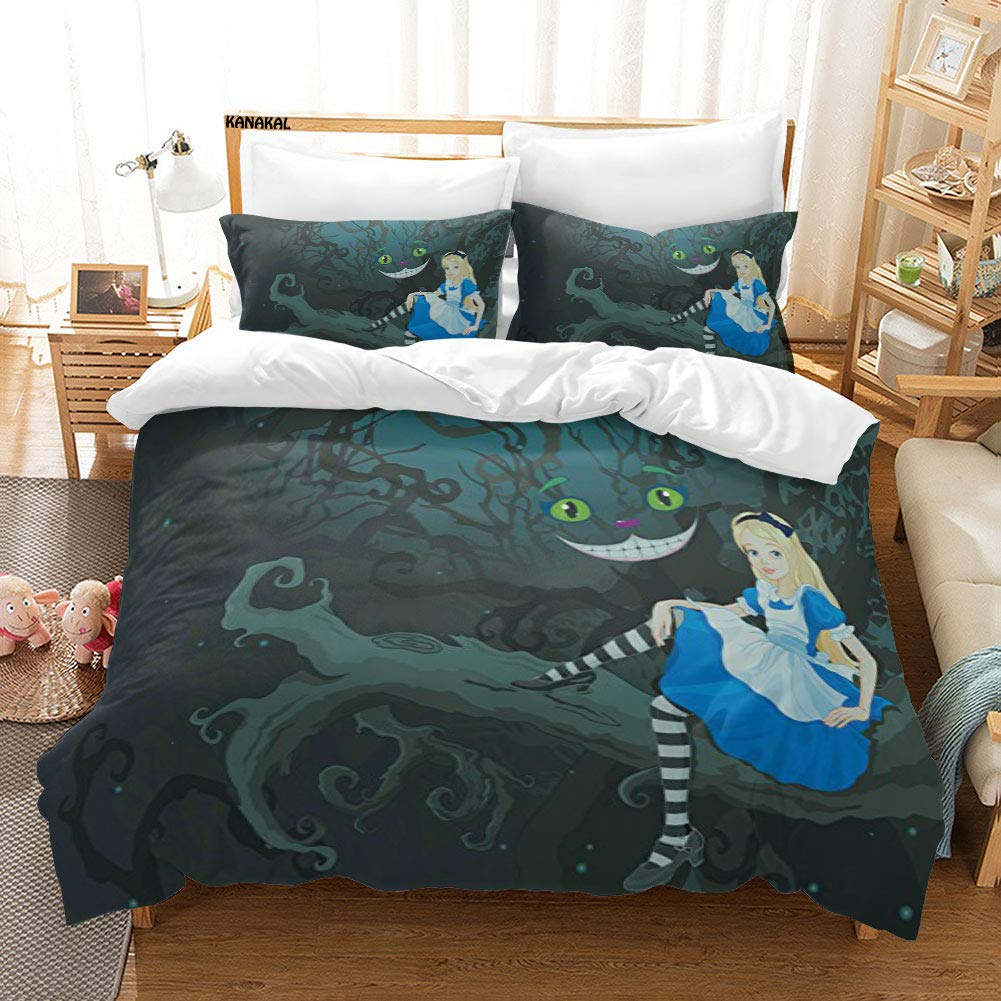 KANAKAL Alice in Wonderland 3PC Bedding Set Alice Sitting on Branch and Chescire Cat in Darkness Cartoon Style Theme Decor 1 Duvet Cover with 2 Matching Pillow Sham Blue Black Twin
