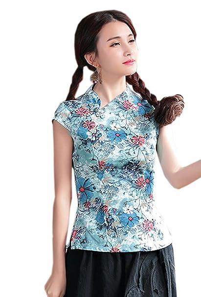 YueLian Mujeres Clásico Disfraz Oriental Elegante Estampada Camisetas del Verano Diaria La Blusa de Tang (