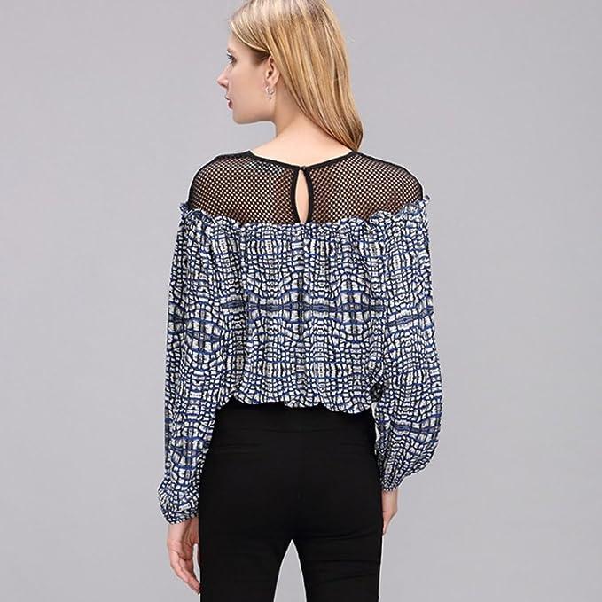 NiSeng Camisetas de Mujer Elegantes Hollow out Ocasional Blusa Pull over Chiffon Blusas Tops de Encaje: Amazon.es: Ropa y accesorios