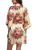 Laurel Snow Floral Satin Kimono Robes for Women