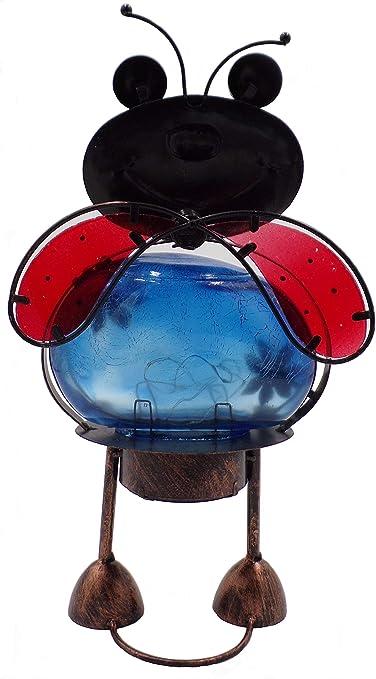 Led Light Turtle Flamingo Pig Ladybug Solar Crackle Glass Decor