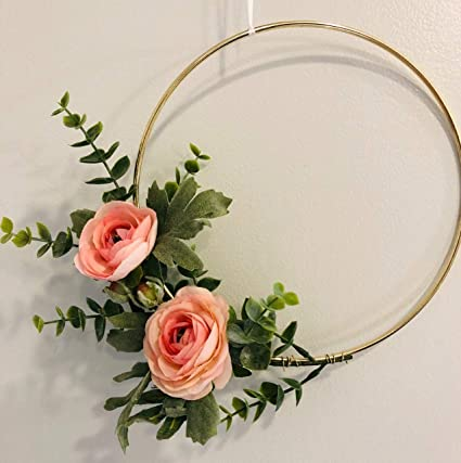 fb8bab77bc382 Amazon.com: Designs by DH Modern Metal Hoop Wreath Shabby Chic Pink ...
