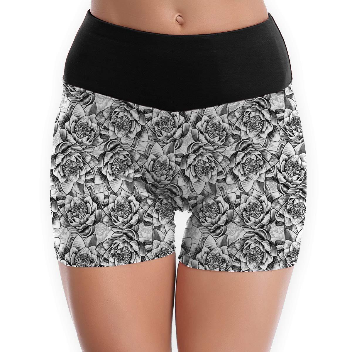 79781bbcae32d Amazon.com: Women's Water Lily Lotus Flower Pattern Power Flex Yoga Shorts  - Tummy Control Sports Leggings - S to XL: Clothing