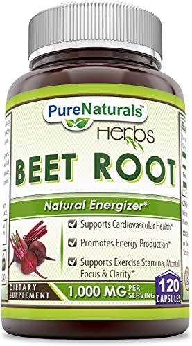 Pure Naturals – Beet Root Dietary Supplement – 1,000 Milligrams per Serving – 120 Capsules Support Cadiovascular Heath*Promotes Energy Production- Support Exercise Stamina,Mental Focus Clarity*
