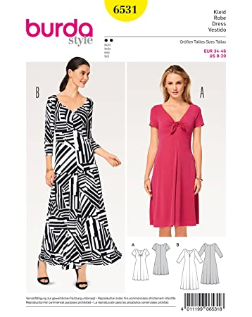 Burda 6531 Schnittmuster Shirtkleid (Damen, Gr. 34-46) Level 2 ...