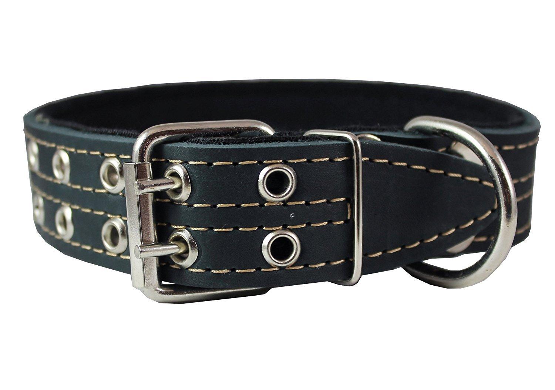 Genuine Leather Dog Collar Padded Black 1.5 Wide. Fits 14-18 Neck Size Medium