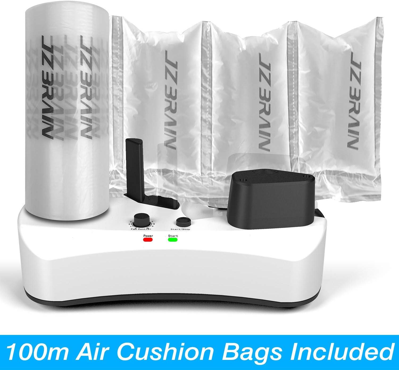 JZBRAIN Air Pillow Maker 110V Air Making Machine Air Cushion Machine Air Packing Machine Inflatable Packaging 100m Free Test Film Roll