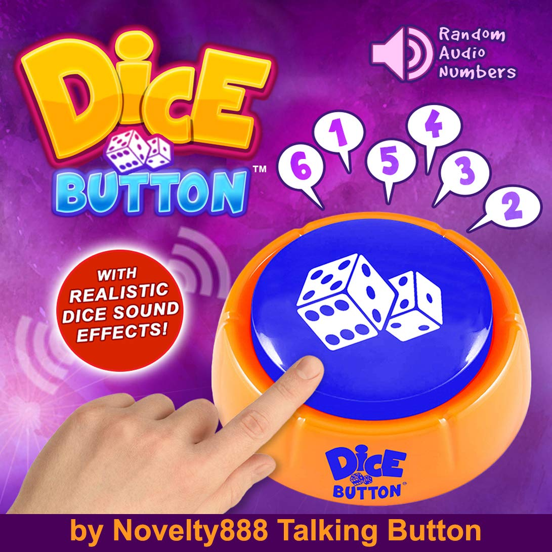 Novelty888 Dice Button is a New Generation of Dice | Random Numbers 1-6 in Audio | A New Board Game Experience | Talking Button | Dice for Kids - It is Safe for Children and Pets.