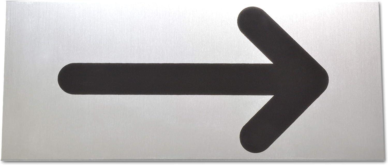 T/ürschild Pfeil Schild aus eloxiertem Aluminium Selbstklebend Mit starker Klebefl/äche der Qualit/ätsmarke 3M B/üroschild Klebeschild Pfeilschild Robuste 2 mm Dicke Gro/ße 14 x 6 cm 1