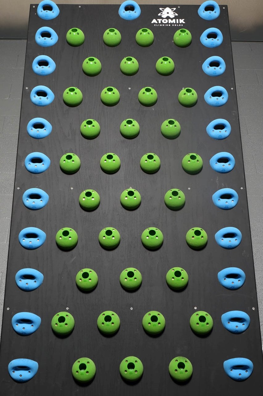 Crossfit & Ninja Warrior Training 15 Degree Pegboard System Wall | Climbing Holds | Blue & Green