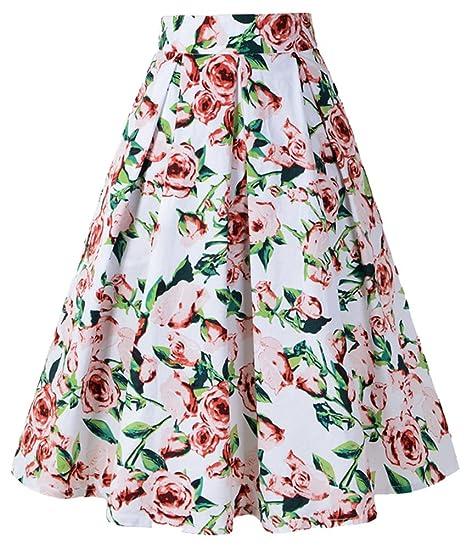 Bestfort Damen Hepburn Kleid Knielange 2018 Hohe Taille Schöne Kleider  Frauen Rock Mode A Linien Rock Drucken Röcke Sommerröcke  Amazon.de   Bekleidung a71be24e8a