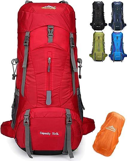 Doshwin 70L Sac à Dos de Camping Trekking Randonnée Voyage (avec Housse  Imperméable)