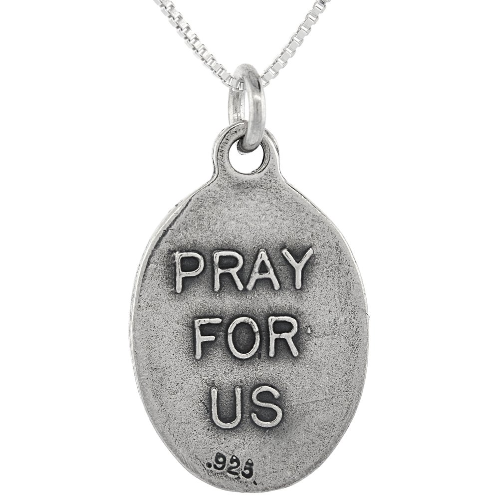 Sterling Silver Holy Family Medal Necklace Oval 1.8mm Chain