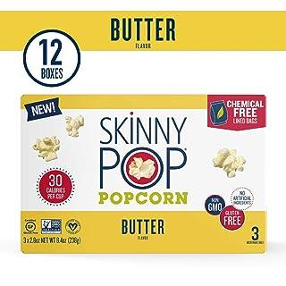 SkinnyPop Microwave Butter Popcorn Bags, Healthy Snacks, 2.8oz (12 3-Packs)