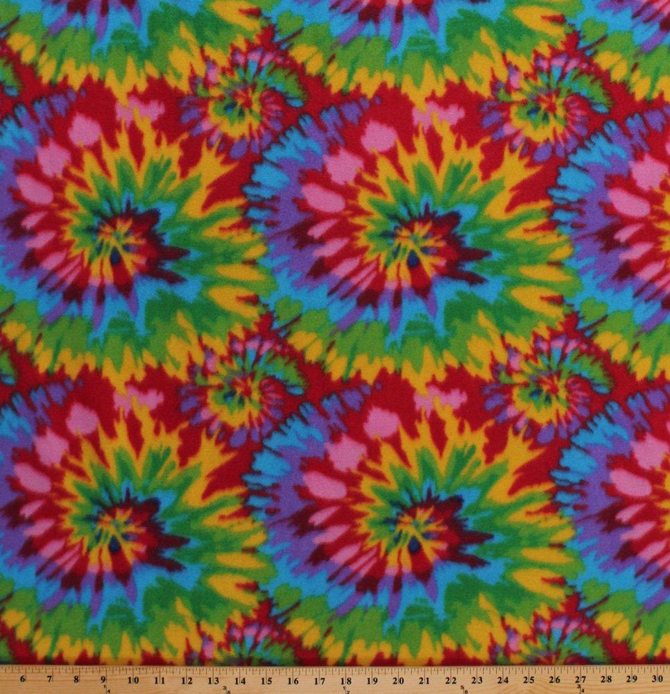 Tie Tye Dye Starburst Fleece Fabric Print by the Yard otyedyebrightq by Field's Fabrics   B010GGHT6A
