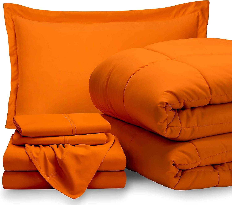 Bare Home Twin XL Sheet Set - 1800 Ultra-Soft Microfiber Bed Sheets (Twin XL, Orange) + Comforter Set - All Season (Twin/Twin XL, Orange)