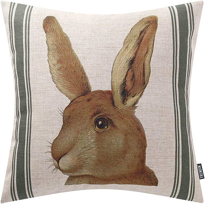 Springtime Throw Pillow Spring Patchwork by helena/_roberts Easter  Bunny Tulip Rabbit Gingham 18x18 Square Throw Pillow by Spoonflower