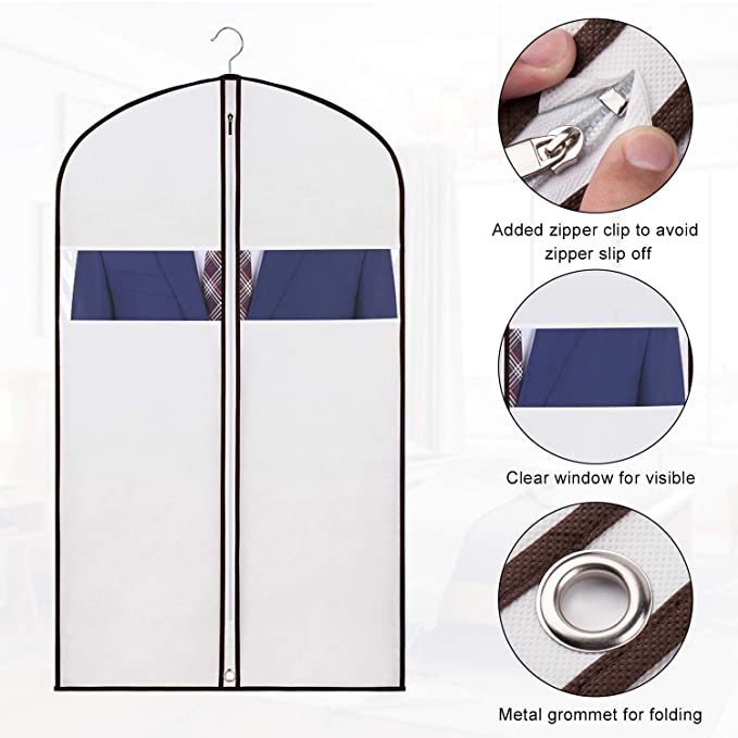 c94b8db111c9 KEEGH Garment Covers Bag for Storage and Travel,Anti-Moth  Protector,Foldable for Dress Dance Costumes Suits Gowns Coats,White (24