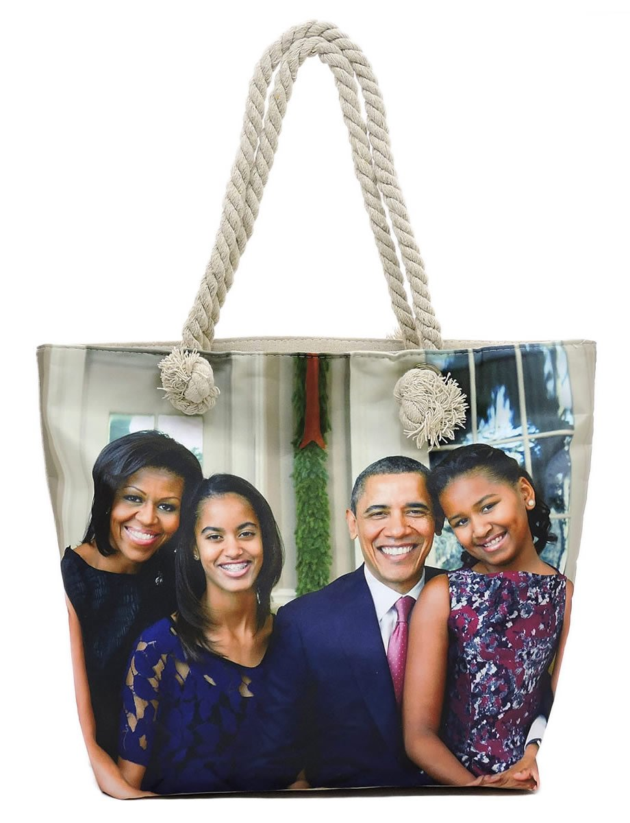 Glossy Magazine Cover Collage 2-in-1 Dome Satchel & Wallet Set Michelle Obama Handbag (Canvas#2)