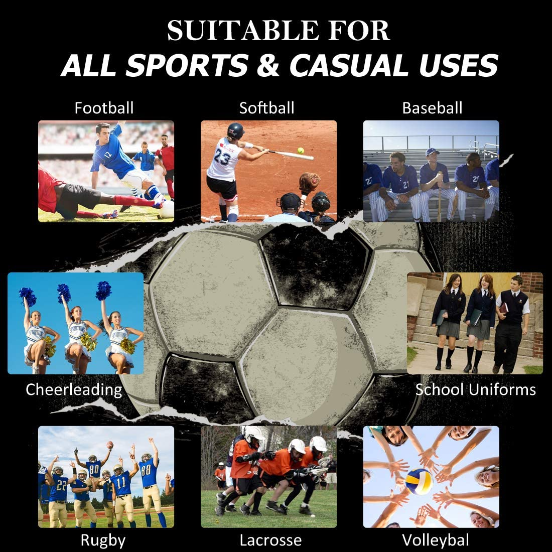 DD DEMOISELLE Soccer Socks Unisex Cushioned Long Tube Baseball Softball Sports Team Socks 1//2 Pairs