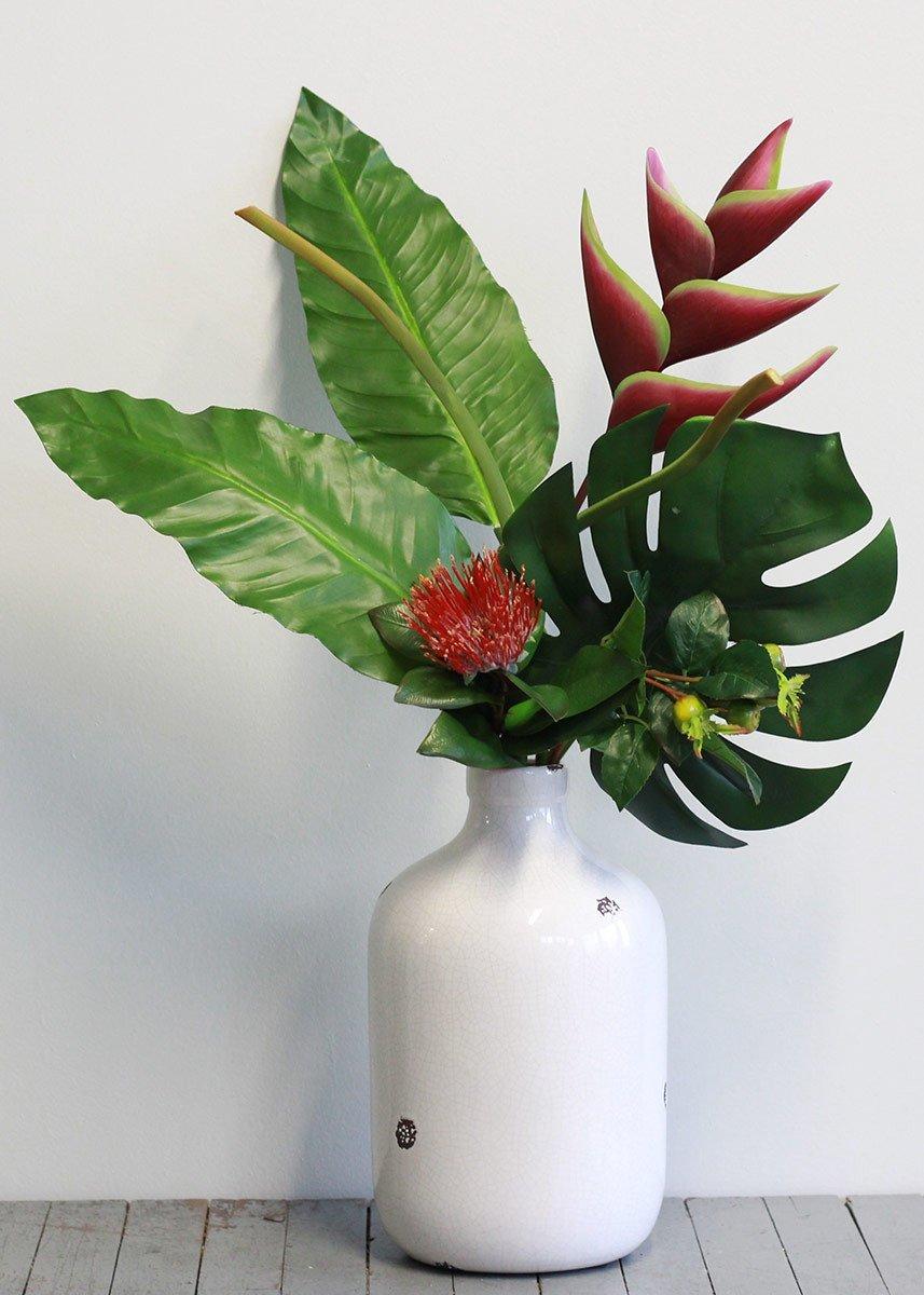 Fauxヘリコニア、Protea &トロピカルリーフバンドルin Plum green36