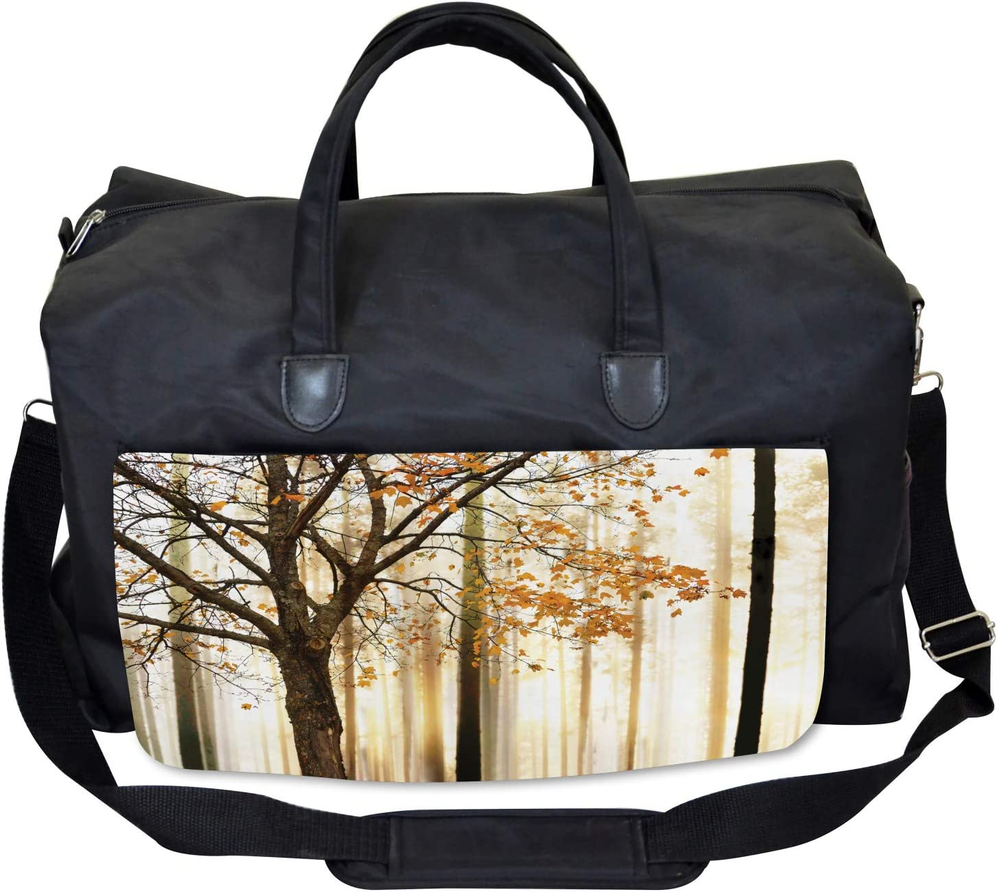Large Weekender Carry-on Tree in Abstract Woods Ambesonne Autumn Gym Bag