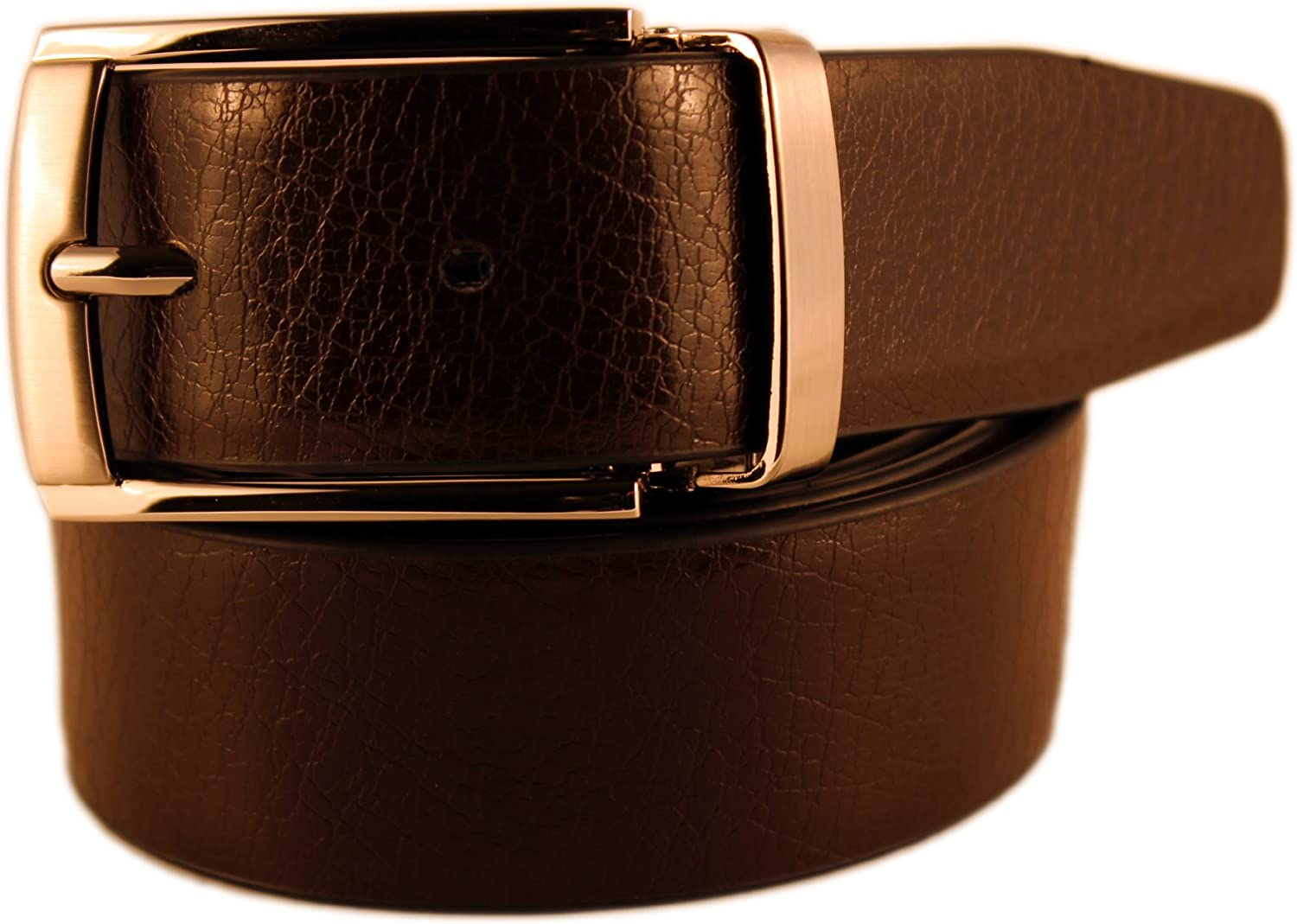 New Mens Marco Valentino Italy Genuine Leather Dark Brown Crack Texture Belt with Satin Nickel Buckle 44 Size