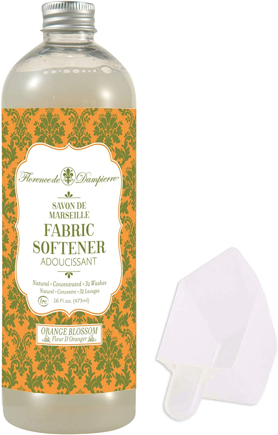 Florence de Dampierre Organic All-Natural Savon de Marseille Soap, Concentrated Liquid Fabric Softener, 16 oz. - Orange Blossom