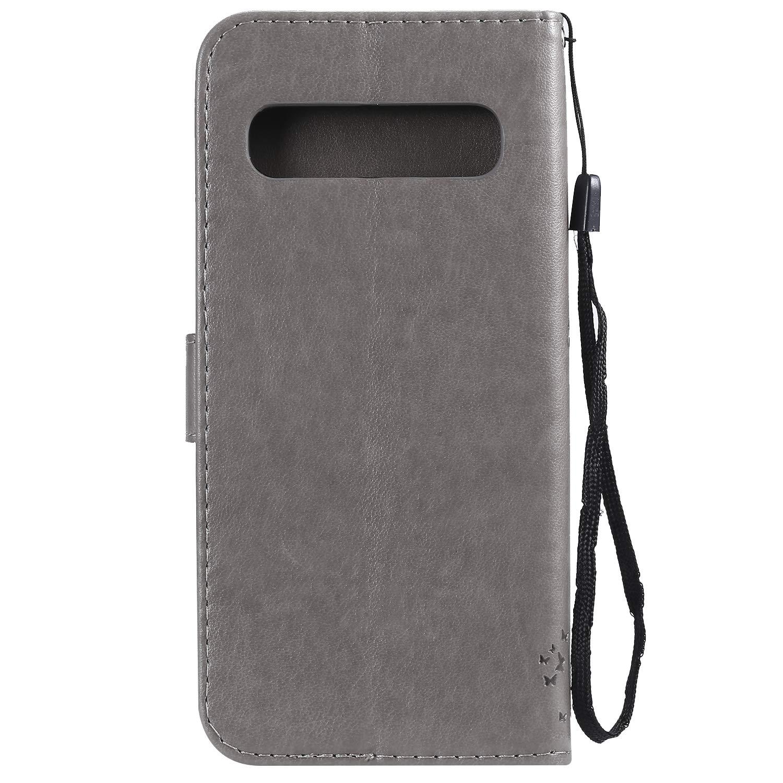 LOKTU080269 Gris Lomogo Coque Samsung Galaxy S10 5G Housse en Cuir Portefeuille avec Porte Carte Fermeture par Rabat Aimant/é Anti Choc Etui de Protection pour Galaxy S10 5G