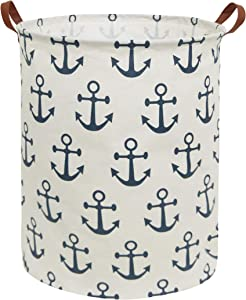 HIYAGON Canvas Storage Basket,Large Laundry Hamper with Handles-Collapsible Storage Bin for Kids Room,Nersury Hamper,Toy Storage 19.7×15.7 (Blue Anchor)