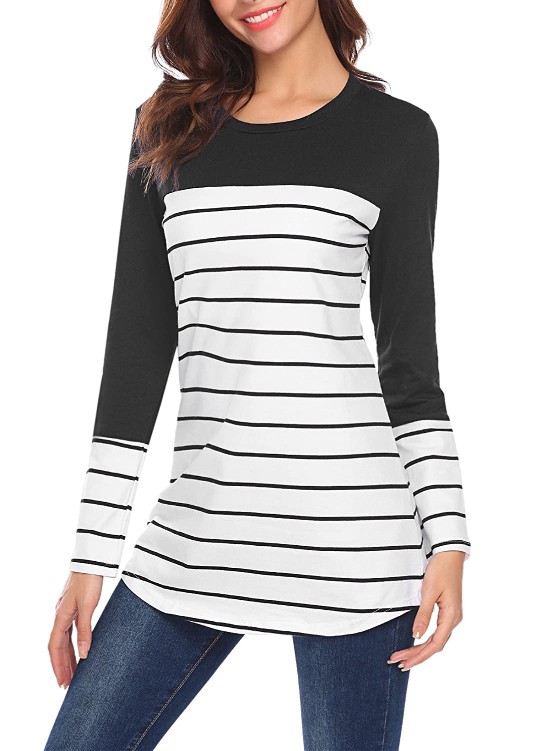 be3ca7cac72 Kancystore Women s Color Block Striped Tunic Tops Long Sleeve Back Button  Stripe T Shirts Blouses Plus Size (S-3XL) at Amazon Women s Clothing store