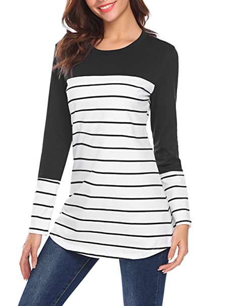 00cc1ba4b73 Kancystore Womens Plus Size Black Color Block Striped Tunic Tops Long  Sleeve Scoop Neck Shirts XXL at Amazon Women s Clothing store