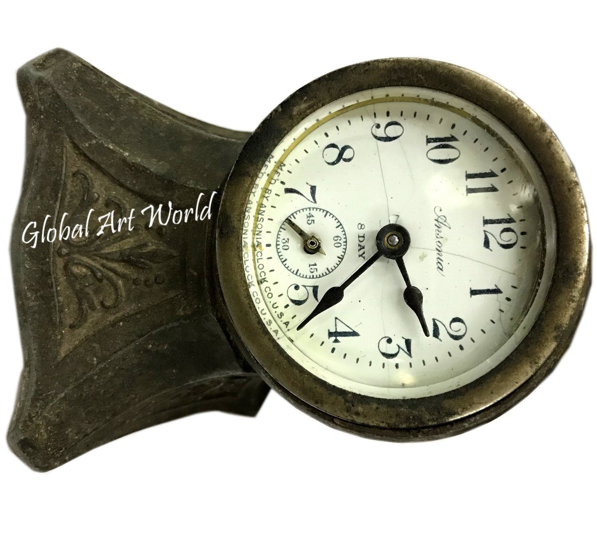 Antiques World Antique Collectors Piece Ansonia Travel Alarm Table Clock Wind Up 8 Days Working Sterling Silver Time Piece Art Deco Case AWUSAHB 0263