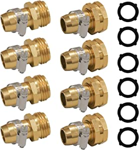 "Hourleey Garden Hose Repair Connector with Clamps, Fit for 3/4"" or 5/8"" Garden Hose Fitting, 4 Set"