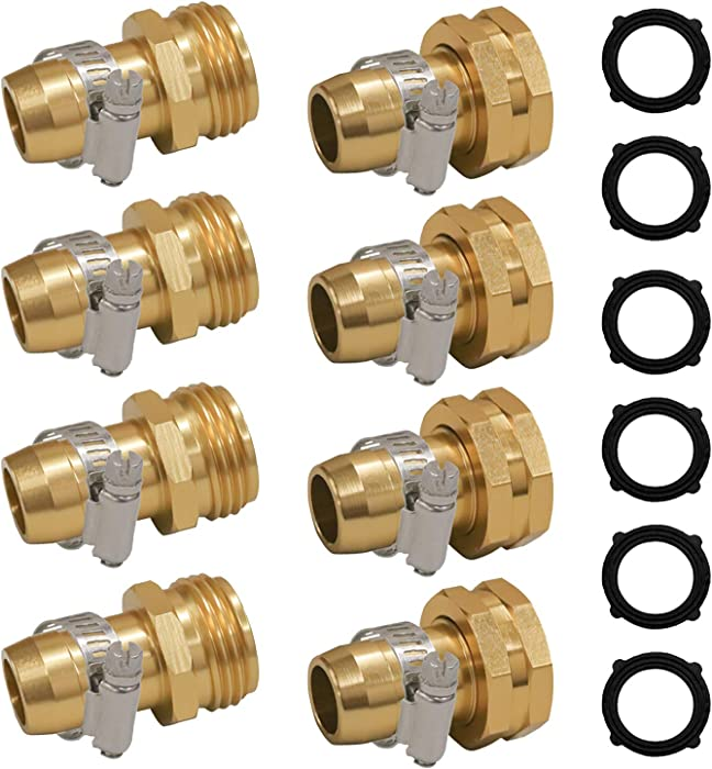 """Hourleey Garden Hose Repair Connector with Clamps, Fit for 3/4"""" or 5/8"""" Garden Hose Fitting, 4 Set"""