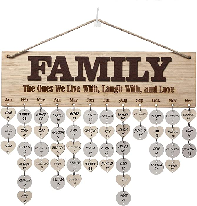 Weenca 3D Oak Veneer Wall Hanging Family & Friends Birthday Calendar with Tags Rustic Wall Decor Easy to Assemble for Mom & Family Lovely Wall Decor for Sweet Home